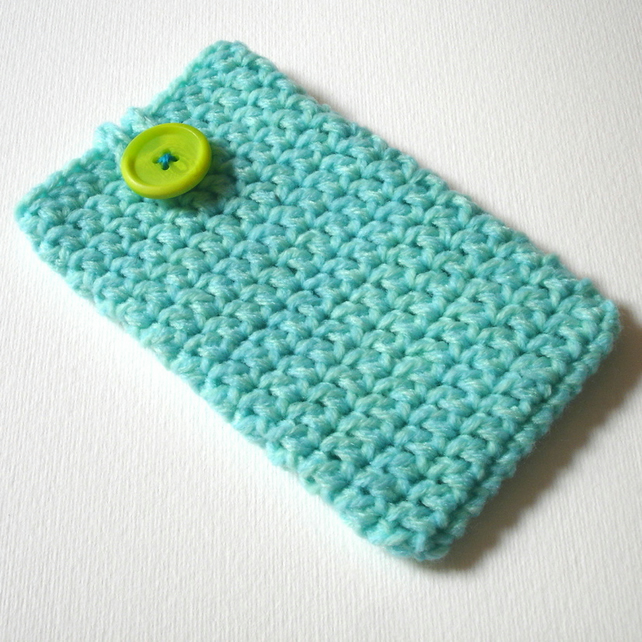 Aqua Mint Marl Crochet Mobile iPhone 6 Cozy with Button