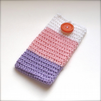 Striped Crochet Mobile iPhone Cozy with Button