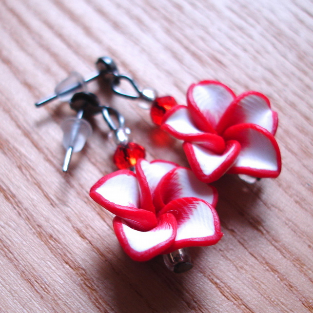 Sparkly FIMO Flower and Crystal Bead Earrings