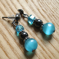 Sparkly Magnetic Hematite and Cats Eye Bead Earrings