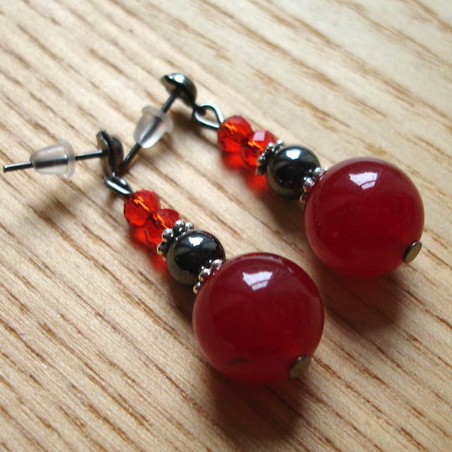 Sparkly Red and Black Magnetic Hematite and Crystal Bead Earrings