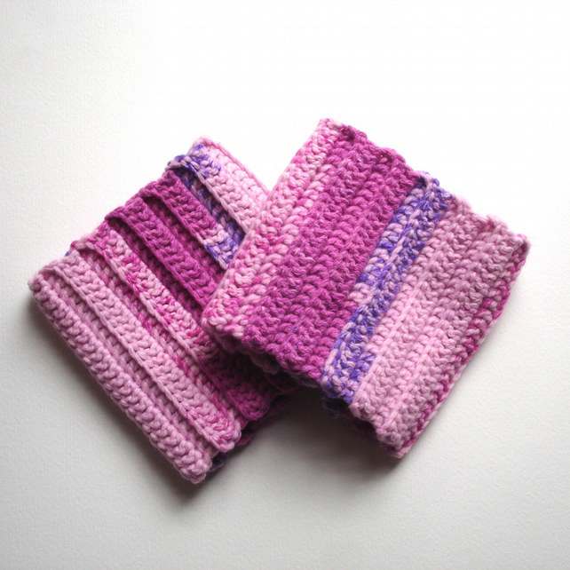 Chunky Pink Hand Crocheted Boot Cuffs Gift for Her - Warm Fashion Accessory