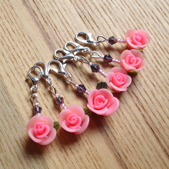 Pink Rose and Sparkle Crochet Stitch Markers