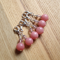 Chic Pink and Sparkle Crochet Stitch Markers