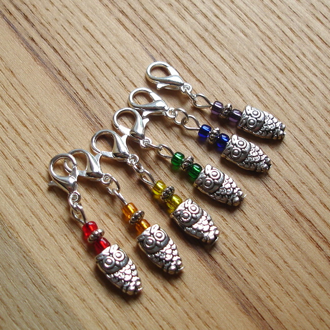 Rainbow Owl Crochet Stitch Markers, Gift for Nature Lover