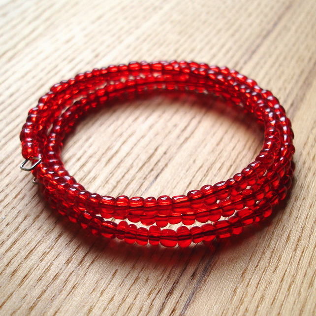 Red Glass Seed Bead Spiral Bracelet