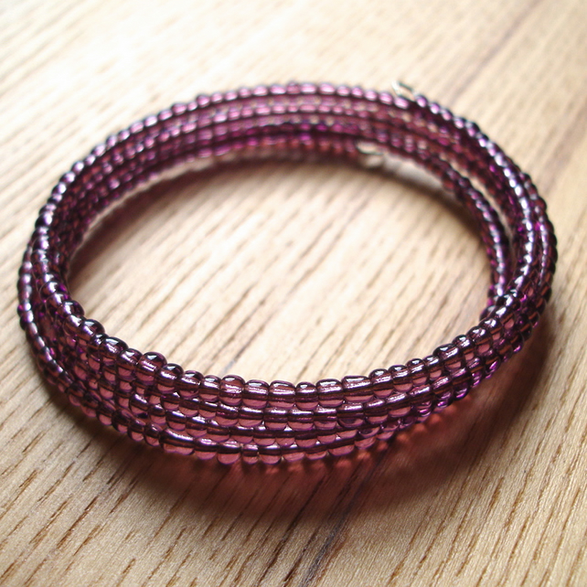 Purple Glass Seed Bead Spiral Bracelet