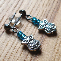Teeny Owl Studs in Turquoise
