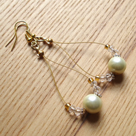 Golden Pearl Loop Bead Earrings