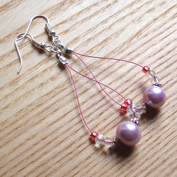 Pretty in Pink Pearl Loop Bead Earrings