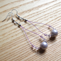 Lovely Lilac Pearl Loop Bead Earrings