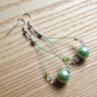 Gorgeous Green Pearl Loop Bead Earrings