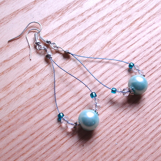 Beautiful Blue Pearl Loop Bead Earrings