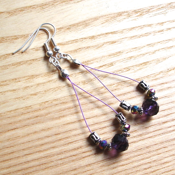 Pretty Purple Sparkle Crystal Loop Bead Earrings, Gorgeous Gift for Her