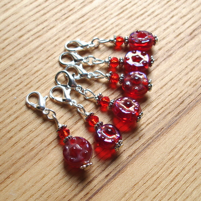Cute Red Sparkle Crochet Stitch Markers