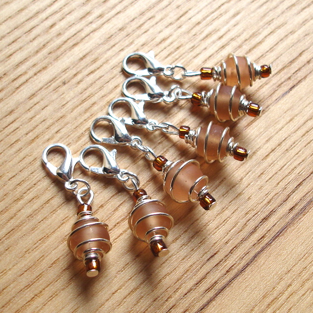 Funky Peach Spiral Crochet Stitch Markers
