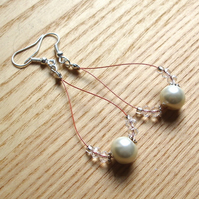 White and Copper Pearl Loop Bead Earrings