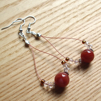 Burnt Orange Agatel Loop Bead Earrings