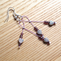 Pretty Purple Hearts Cherry Drop Style Earrings, Gorgeous Gift for Her