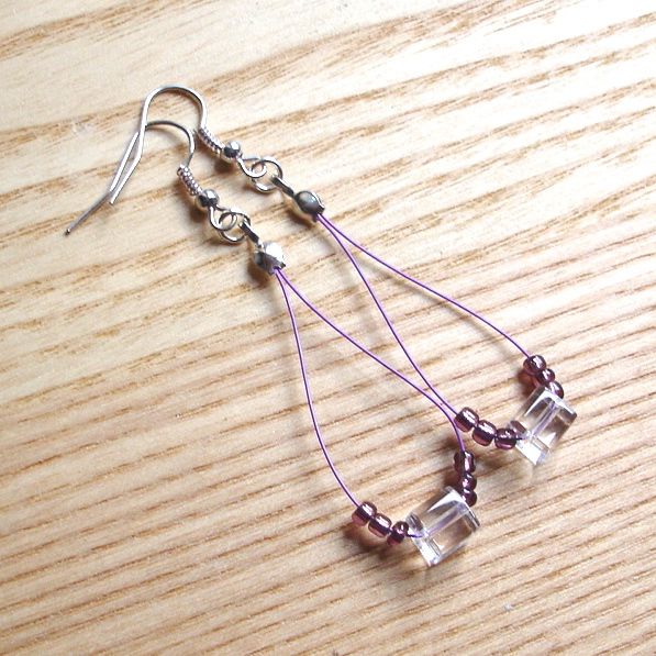 Cute Cubes Purple Loop Bead Earrings, Pretty Stocking Filler for Her