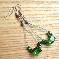 Cute Cubes Green Loop Bead Earrings, Pretty Stocking Filler for Her