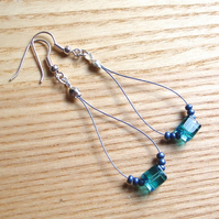 Cute Cubes Blue Loop Bead Earrings, Pretty Stocking Filler for Her