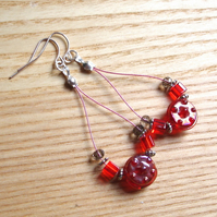 Vivid Red Sparkle Loop Bead Earrings, Gorgeous Gift for Her