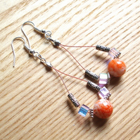 Orange and Pink Sparkle Loop Bead Earrings, Gorgeous Stocking Filler for Her