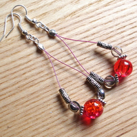 Hot Pink Sparkle Loop Bead Earrings, Gorgeous Stocking Filler for Her