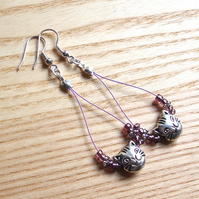 Pretty Purple Cat Bead Loop Bead Earrings, Gorgeous Gift for Her