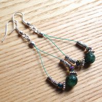 Moss Green Agate Sparkle Crystal Loop Bead Earrings, Gorgeous Gift for Her