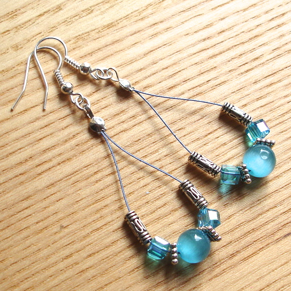Blue Sparkle Loop Bead Earrings, Gorgeous Stocking Filler for Her
