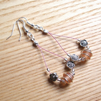Peach Spiral and Flower Loop Bead Earrings, Gorgeous Stocking Filler for Her