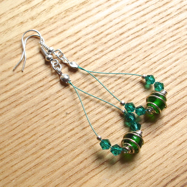 Green Spiral Loop Bead Earrings, Gorgeous Stocking Filler for Her