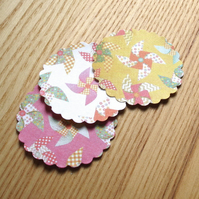 Mini Gift Tag Value Pack of 30, Windmill Design, Pink White and Mustard