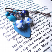 Bookmark Blue Rock Chick Plectrum Bead Cluster