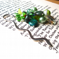 Bookmark with Green Bead Cluster