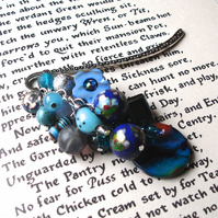 Bookmark with Big Blue Bead Cluster