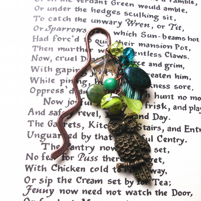 Owl Bookmark with Green Bead Cluster