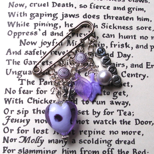 Valentine Love Heart Kilt Pin Brooch in Purple
