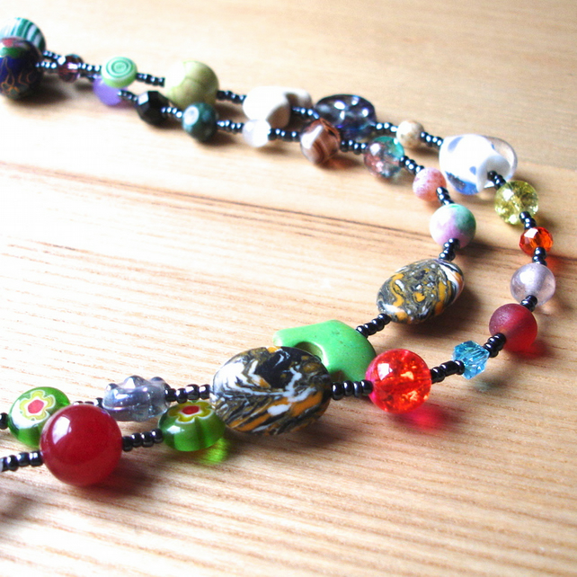 Long Multicolour Bead Necklace