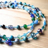 Long Turquoise and Blue Bead Necklace