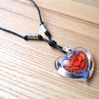 Large Valentines Heart Glass Pendant