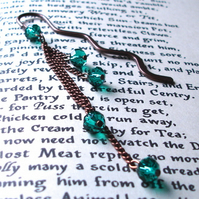 Bookmark with Teal Crystal and Chain Dangle