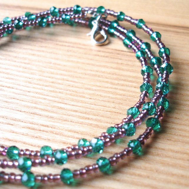Multistrand Bracelet with Teal Glass Crystals
