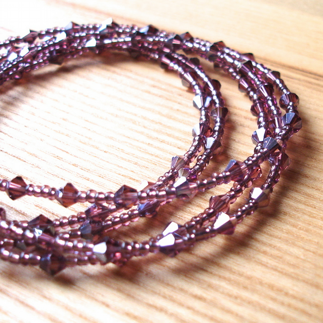Multistrand Bracelet with Purple Glass Crystals