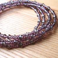 Multistrand Bracelet with Grey Glass Crystals