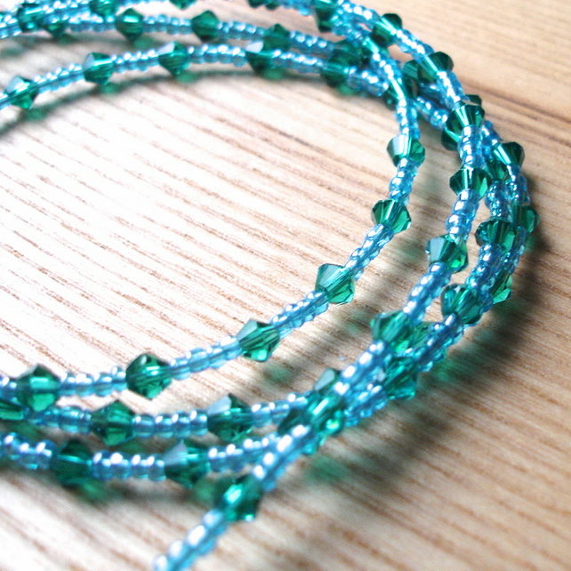 Multistrand Bracelet with Green Glass Crystals