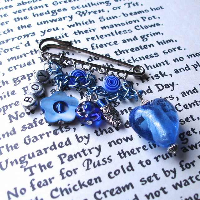 Love Heart Kilt Pin Brooch for New Mum in Blue Boy
