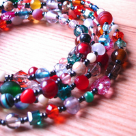 Long Boho Multicolour Bead Bracelet